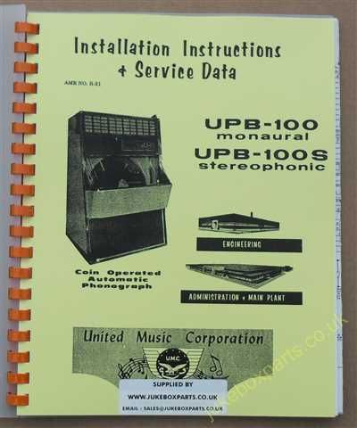 United UPB-100 Monaural / UPB 100S Stereophonic Manual (1959)