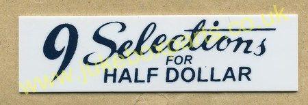 Seeburg V, VL & KD Drum Pricing Card Half Dollar Selections (JP506)