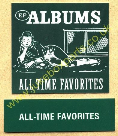 Seeburg V, VL & KD Drum Card & Classification Strip EP Albums All Time Favourites Green (JP526)