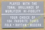 Wurlitzer Display Card Grey (JP563)