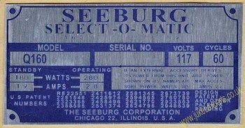Seeburg Q160 Aluminium Identification Plate (JP589)