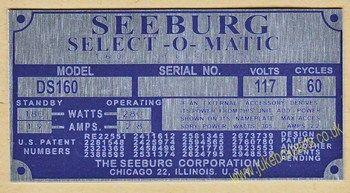 Seeburg DS160 Aluminium Identification Plate (JP590)