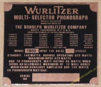 Wurlitzer 1800 Copper Identification Plate (JP598)
