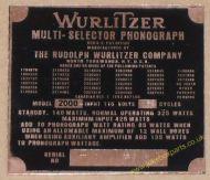 Wurlitzer 2000 Copper Identification Plate (JP600)