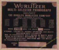 Wurlitzer 2100 Copper Identification Plate (JP601)