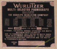 Wurlitzer 2104 Copper Identification Plate (JP602)