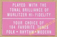 Wurlitzer Display Card Pink (JP607)