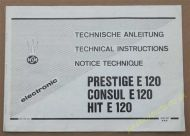 NSMElectronic Technical Instructions Prestige E120 Consul E120 Hit E120 (USM123)