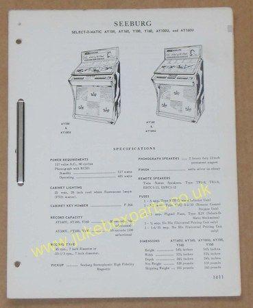 Seeburg Models AY100, AY160, Y100, Y160, AY100U & AY160U (USM237)