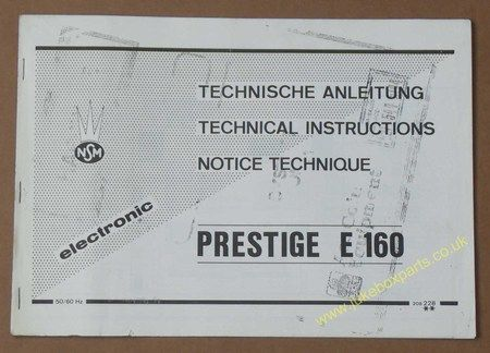 NSM Electronic Technical Instructions Prestige E160 (USM276)