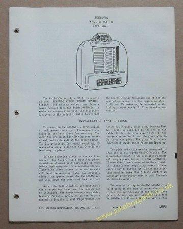 Seeburg Wall-O-Matic Type 3W-1 Information & Parts List (USM319)
