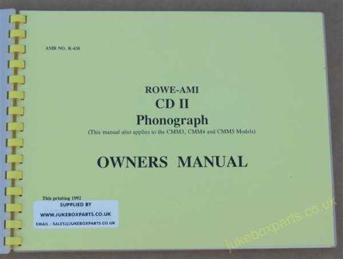 Rowe Ami Models CD11, CMM3, CMM4, CMM5 Owners Manual (USM33)